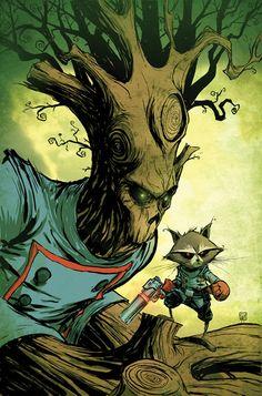 Annihilators variant cover - Groot and Rocket Raccoon by Skottie Young Comic Book Characters, Marvel Characters, Comic Character, Comic Books Art, Skottie Young, Rocket Raccoon, Marvel Dc, Marvel Heroes, Hero Arts