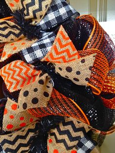 Checkered Pumpkin deco mesh Wreath by DzinerDoorz on Etsy