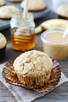 Peanut Butter, Banana, and Honey Muffins Recipe on twopeasandtheirpod.com These healthy muffins are easy to make and great for breakfast or snack time!