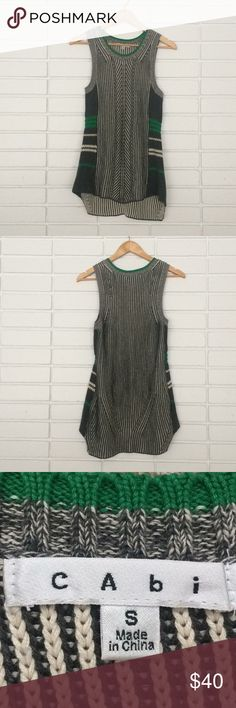 CAbi Green & Grey Vest Sweater Art Deco-esc Print CAbi Green & Grey Vest Sweater Art Deco-esc Print! Size S. Excellent, like-new condition! Adorable, on-trend sweater vest! Would look great with leggings or skinny jeans! CAbi Sweaters