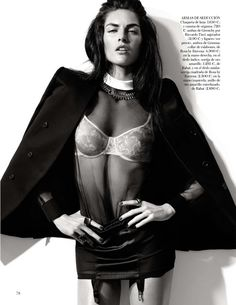 "Hilary Rhoda in ""Black Tie"" by Alexi Lubomirski for Vogue Spain February 2013"