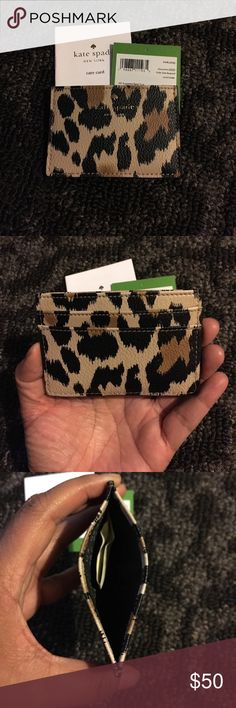 Authentic Kate Spade Card Wallet Authentic Kate Spade Wallet! Smooth leather leopard print wallet! Won't be disappointed with this purchase 💕💕💕 NO TRADE kate spade Accessories Key & Card Holders