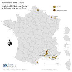 Municipales 2014 : les villes où le FN et l'Extrême Droite sont en tête au 1er tour