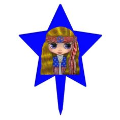 4th of July Stars and Stripes Hippie Girl Star Cake Pick © Blonde Blythe