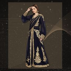 Be a vision of elegance on your big day in this traditional Djellaba Caftan Dress with a modern twist. It features trendy balloon sleeves, an attached drape and beautiful golden machine embroidery. Product no: 8875