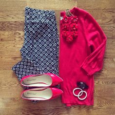 Old Navy Pixie Pant, Red Sweater, Red Beaded Rose Necklace, Red Flats | #workwear #officestyle #liketkit | http://www.liketk.it/RTQk | IG: @whitecoatwardrobe