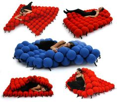 This unique bed is made from 120 medium sized sofa balls covered in elastic fabric. The crazy thing about this bed is that you can change its form. It doesn't have to be horizontal bed all the time. You can pull up the sofa balls to make a small seating arrangement or make new shapes for your relaxation needs. Plus they look kinda cute. Crazy Expensive but amazing!