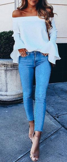 trendy outfi idea white off shoulder top skinny jeans heels