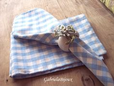 Linen cloth napkins - Gingham white pastel blue table linen napkins cloth - pinned by pin4etsy.com