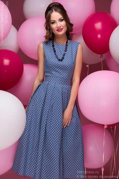 """Платье синее длины миди с принтом """"ромашки"""" и открытой спинкой , синий в интернет магазине Платья для самых красивых 1001dress.Ru"""