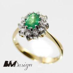 Pierścionek ze szmaragdem i diamentami Rzeszów Emerald and diamond ring.