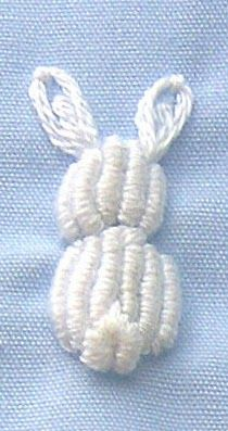 "A bullion stitched bunny from the ""Heirloom Embroidery"" book, is a great way to add a special touch to a garment when time is short. ..."