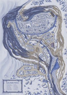 A fantasy map of a snowy town that sits upon a frozen lake within a box canyon. The city castle is built within a frozen waterfall. Fantasy City Map, Fantasy World Map, Fantasy Town, Fantasy Castle, Old Maps, Antique Maps, Vintage Maps, Dark Fantasy, Castlevania