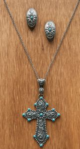 Montana Silversmiths Turquoise Passion Flower Earring and Cross Pendant Jewelry Set