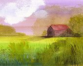 """landscape painting, farm, country, wall art, decor, green, red, pink, farmhouse-""""Little Barn"""" archival reproduction of original painting"""