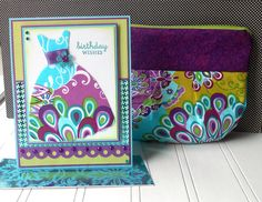 Birthday Gift Set: Birthday Card and Matching Cosmetic Pouch - Flutter Garden