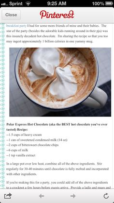 Polar Express Hot Chocolate - supposed to be the best, I'll have to try it Hot Chocolate Bars, Hot Chocolate Recipes, Polar Express Hot Chocolate Recipe, Chocolate Chips, Crock Pot Hot Chocolate Recipe, Hot Cocoa Recipe, Homemade Hot Chocolate, Melted Chocolate, Chocolate Food