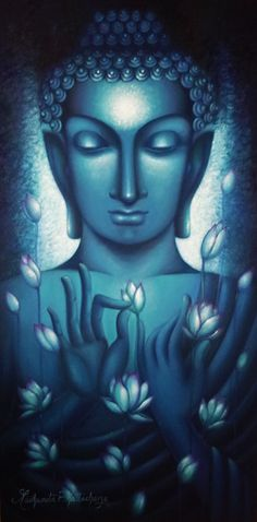 Blue Buddha with lotus flowers Buddha Zen, Buddha Buddhism, Buddhist Art, Buddha Peace, Buddha Gifts, Buddha Painting, Buddha Artwork, Taoism, Yoga Art