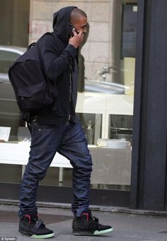 If i ever got my hands on a pair of yeezys man i wouldnt know what t do.. Kanye West wearing Nike Air Yeezy 2.