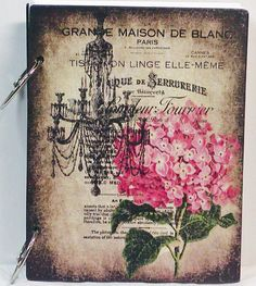 Vintage Look French Chandelier and Flower Custom Wooden Blank Journal Diary. $24.95, via Etsy.