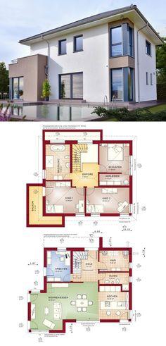 Moderne Stadtvilla - Einfamilienhaus Concept M 145 Bien Zenker - Haus bauen Grundriss Fertighaus modern offene Küche - HausbauDirekt.de
