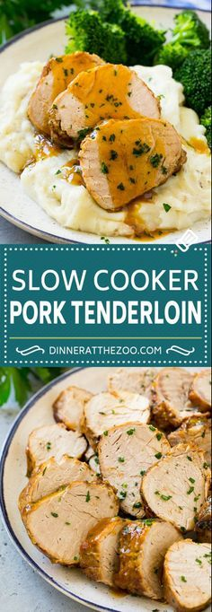 Easy Pork Tenderloin Recipes, Tenderloin Pork, Best Slow Cooker Pork Tenderloin Recipe, Roast Brisket, Easy Meals, Healthy Recipes, Healthy Food, Crockpot Meat, Pork In Crockpot Recipes