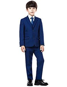 Luca Gabriel Toddler Boys 5 Piece Classic Fit No Tail Formal Khaki Dress Suit Set with Tie and Vest