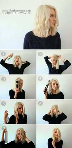Easy Hair Tutorial: Waves for short hair using a straightener.