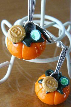 Citrouilles d'halloween - boucle d oreille percée - comme une friandise - Fait Maison