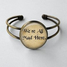 Alice In Wonderland Jewelry We're All Mad Here Once Upon A Time Fairy Tale Antique Style Bronze Bangle Cuff Bracelet