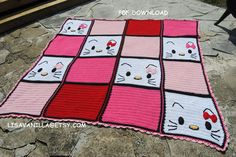 Hello kitty/ Blanket/ Pattern/ PDF Download/ by LisaVanilLA