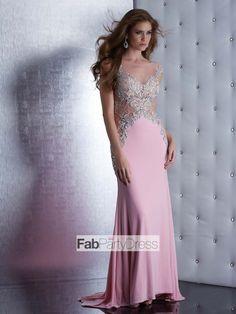 Sheath / Column Beading  Chiffon Prom Dresses / Evening Dresses