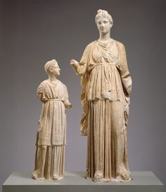 Marble funerary statues of a maiden and a little girl. (Credit: Rogers Fund…