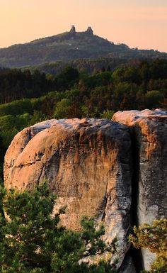 Bohemian Paradise rocks with Trosky castle in the background (East Bohemia), Czechia