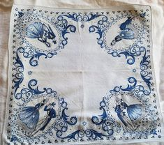 Charming Vintage Handkerchief Blue and White Design Cotton
