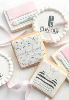 Whipped Bakeshop's custom make themed brand cookies for Clinique. Inquire today for cookie favors! We ship cookies across the United States Spice Cookies, Clinique Makeup, Cookie Favors, Sugar And Spice, Cookie Decorating, United States, Ship, Cookie Ideas, Decorated Cookies