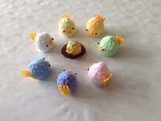 Cute hand knitted Easter Chicks to cover a Ferrero Rocher chocolate or Lindt Lindor. Various colours. Ideal as a gift or place setting on your Easter table. Just ask if you want more made. This is a decoration not a toy so please do not give to children under 3 years of age because of small parts. I can make them without the beads if requested.