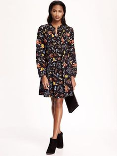 dark floral print / old navy / swing dress