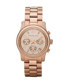 Michael Kors Rose Golden Midsize Runway Chronograph Watch. I LOVE this pink watch!