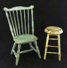Tutorial - Miniature Painted & Distressed Chair & Stool by Kathryn Depew