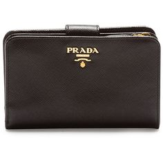 48762a84fa21 Prada Saffiano Triangle Bi-Fold Tab Wallet (€510) ❤ liked on Polyvore  featuring bags, wallets, black, bi fold wallet, leather credit card holder  wallet, ...