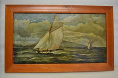 ANTIQUE OIL ON CANVAS SAILING BOATS ON ROUGH SEA INDISTINCTLY SIGNED in Art, Paintings, Modern (1900-1979) | eBay