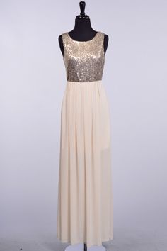 SEQUINED TOP LINED CHIFFON BOTTOM MAXI DRESS