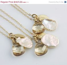 Holiday Sale Bridal Party Gifts Set of 3 Golden Fall by true2u, $91.16