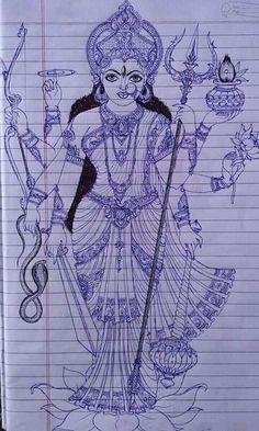 Goddess Durga Saraswati Goddess, Kali Goddess, Indian Goddess, Goddess Art, Durga Maa Paintings, Durga Painting, Madhubani Painting, Earth Day Clip Art, Indiana