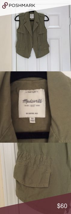 NWOT Madewell modern safari vest Hand washed but never worn! Perfect condition! This is such a cool piece and great for layering. The color is slightly lighter than in the pictures. It is super flattering with inside ties to adjust the waist. The pockets have a secure snap closure. It fits true to size and is slightly fitted. NO TRADES OR MODELING!!! Madewell Jackets & Coats Vests