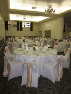 White Spandex Chair Covers with Champagne Crinkled Taffeta Sashes. TWITTER: @BayAreaLinens www.bayarealinens.com