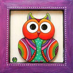 """Tableau en bois peint de """"look"""" le petit hibou : Décorations murales par sylphide"""