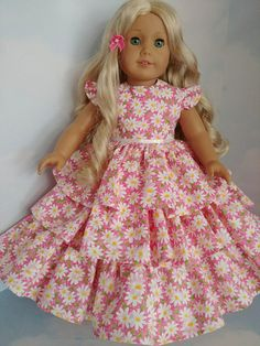 Pink Daisy Ruffled Gown 18 inch doll clothes