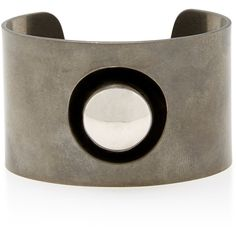 Tomas Maier Large Silver Cuff ($650) ❤ liked on Polyvore featuring jewelry, bracelets, tomas maier, silver bangles, silver jewelry, silver jewellery and silver cuff bangle